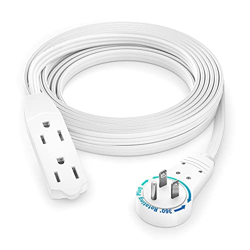 of cable extensions dec 2021 theres one clear winner Maximm Cable 12 Ft 360° Rotating Flat Plug Extension Cord/Wire, 16 AWG Multi 3 Outlet Extension Wire, 3 Prong Grounded Wire - White - UL Listed