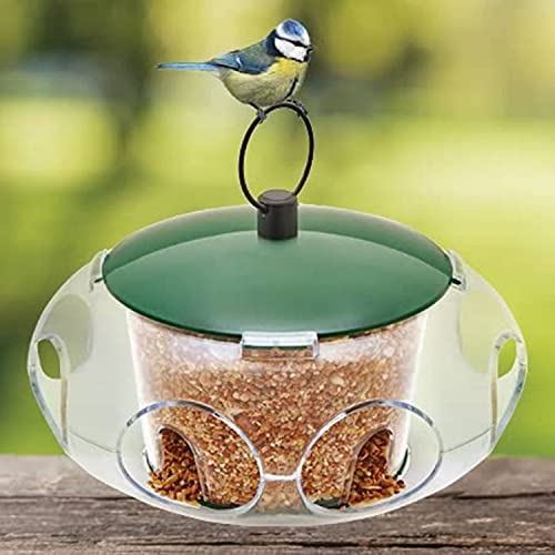 CUQOO Premium Bird Feeder for Small Birds – Bird Seeds Feeder and Shelter - Niger Seed Bird Feeder Ideal for Small Birds Only – Sheltered Bird feeders with Multiple Entrances for Safe Feeding