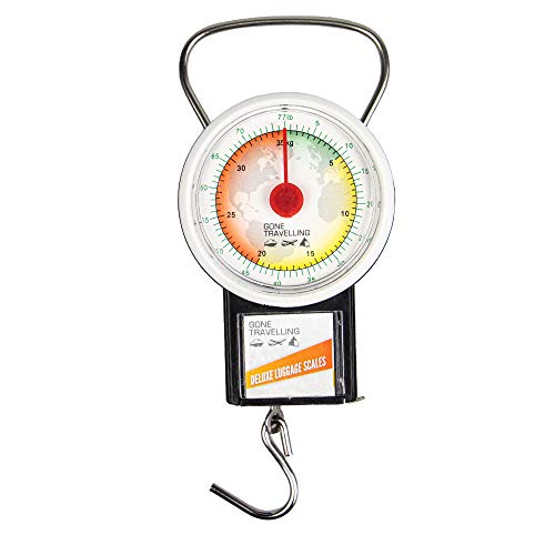 Gone Travelling Portable Hanging Luggage Scales - Suitcase Weighing Scales Up To 77lbs / 35kg with 1m Tape Measure - Colour Coded Dial to Ensure Your Luggage is Within the Limit