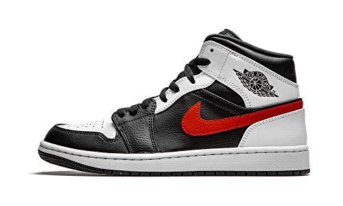 Nike Herren AIR Jordan 1 MID Basketballschuh, Black Chile Red White, 44 EU