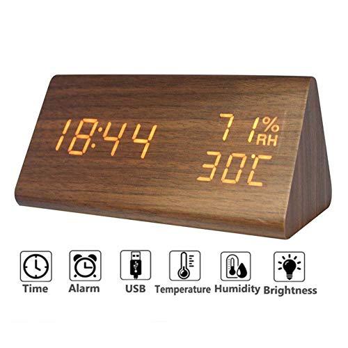 Homieco Digitale Alarm Klok Hout Verstelbare Helderheid Voice Controle LED Rechthoek Klokken Display Tijd Temperatuur Thuis Decor
