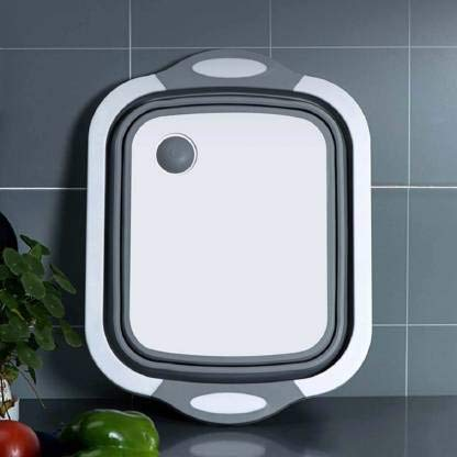 Rama Sales 4 en 1 multifuncional a base de silicona de corte plegable   Tabla de cortar   Tina de plato plegable   Vegetales   Lavado de frutas   Canasta de drenaje con enchufe   Lavabo plegable