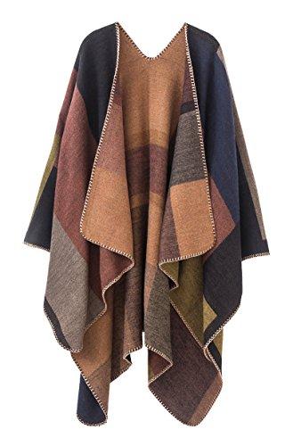 Urban CoCo Damen farbblock-schal-Wrap vorne offen poncho einheitsgröße series 1-khaki
