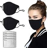 JXQ-N 2 piezas de algodón 𝓜á𝓢𝓬𝓪𝓡𝓪 antipolvo transpirable con 4 piezas de filtro de carbón activado lavable y reutilizable con orejera ajustable negro