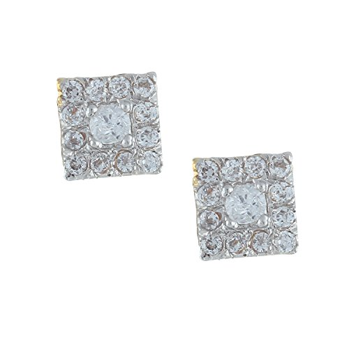 Efulgenz 14k Yellow Gold Plated Solitaire AAA Cubic Zirconia CZ Stud Earrings Jewelry Gift for Her