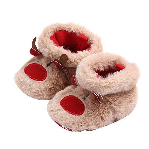 Infant Newborn Baby Girls Boys Christmas Boots Santa Claus Soft Sole Crib Prewalker Shoes Footwear(Deer)