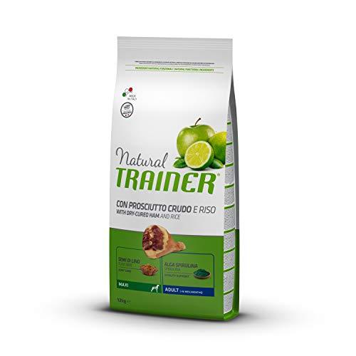 Natural Trainer Adult Maxi - Cibo Secco per Cani con Prosciutto Crudo e Riso, 12 kg
