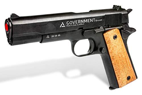 Rebla Government Pistola a Salve Semiautomatica Singola Azione Scacciacani Professionale Calibro 8mm Impugnatura In Legno Materiali Metallo Caricatore Monofilare 10 Colpi-Replica Arma Difesa Personale