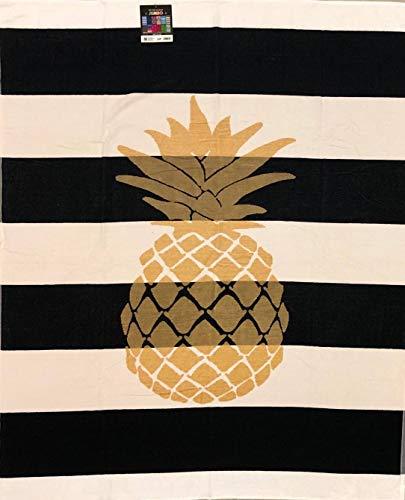 Telo Mare Matrimoniale Golden Ananas 100% Spugna Di Cotone 140X170 Cm Spiaggia Due Posti