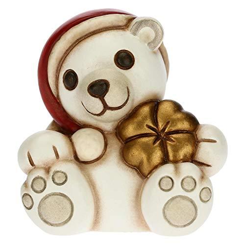 THUN - Soprammobile Orso Polare Natalizio Portafortuna - Accessori per la Casa da Collezionare - Linea Un Pensiero Felice - Formato Mini - Ceramica -5,2 x 4,3 x 5,5 h cm