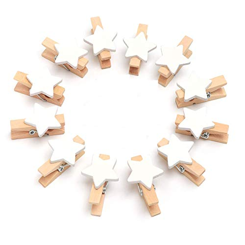 Queta Mini Clip de Madera, 100 Piezas de Clip de Madera para Decoración, Mini Clip de Pentagrama Pinza de Ropa de Estrella Clip de Decoración de Madera para Navidad/Foto/Póster/Fiesta/Boda/Pared