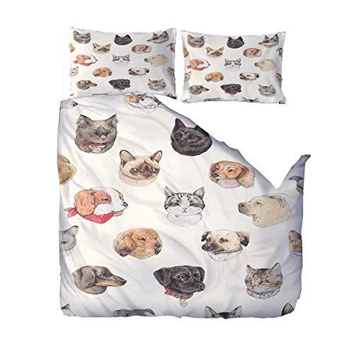 YJRXSS Bedding Sets Super King/220x260cm/86.5x102 inchesCartoon animal cat 3D Designs Duvet Cover With 2 Pillowcases 3D Printed Bedding Set With Zipper Closure Soft Microfiber Double Duvet Cover Set