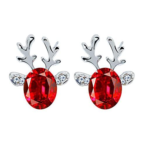LJJYD Christmas Antler Simulated Crystal Inlay Stud Earrings Cute Deer Earrings for Women