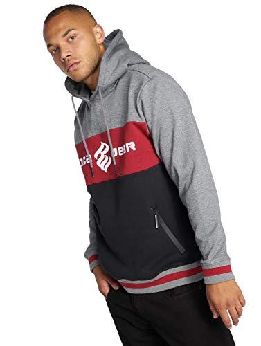 Rocawear 3 Tone Hoodie Herren Pullover Kapuze Kängurutaschen Männer Sweatshirt Kapuzenpullover Defshop S M L XL XXL 3XL, M, Grau