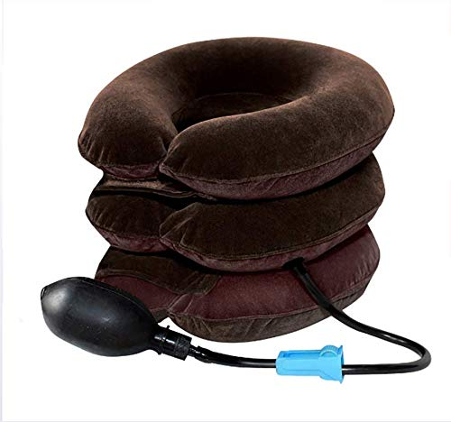 Cervical Neck Traction Device 3 Capas Cuello Dispositivo de tracción Dolor de Cabeza Dolor de Hombro Relájese Soporte Brace Almohada Movilidad Relajante Aire Suave Soporte de Protector de Cuello