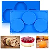 BUSOHA Round Silicone Mold (2pack) 3-Cavity Large Round Disc Mold for Cake,Pie,Candy,Custard,Mousse,Epoxy Resin,Soap,Tart,Resin Coaster,Pastry Bakeware Mold