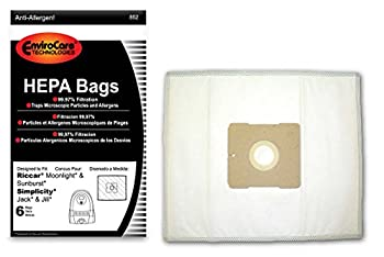 EnviroCare Replacement HEPA Filtration Vacuum Cleaner Dust Bags made to fit Riccar Moonlight and Sunburst Simplicity Jack and Jill Canisters 6 pack