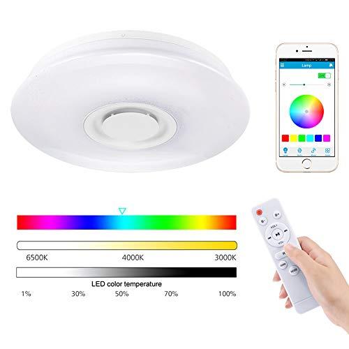 LED plafondlamp met Bluetooth Speaker Smartphone APP en afstandsbediening, kamerplafond temperatuur dimbaar muziek RGBW kleuren instelbaar Φ15,7 inch rond ingebouwde Light Fixture 60 W.