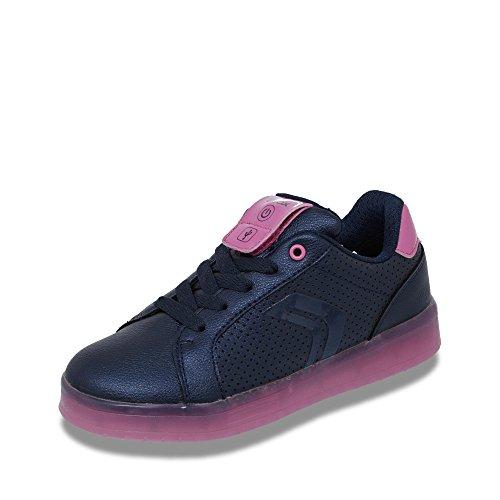 Geox Mädchen J KOMMODOR Girl A Sneaker, Blau (Navy/Fuchsia), 28 EU