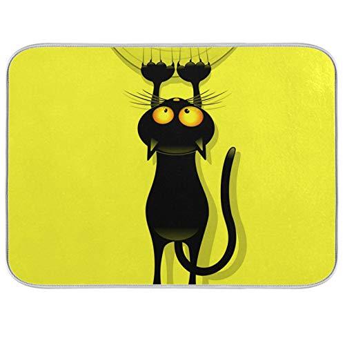 Tapis de séchage à vaisselle microfibre comptoirs de cuisine protecteur de coussin sec 16 x 18 pouces drôle chat dessin animé rideau à gratter