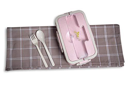 Jinx FR Lunch Box | Boite à Repas Bento Bio Naturelle Premium sans BPA en Paille de Blé | 1000mL | 2 Couverts pour Adultes et Enfants | Passe Au Micro-Ondes Et Au Lave-Vaisselle