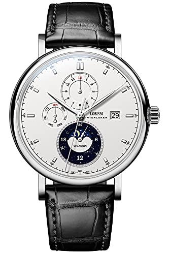 Lobinni Reloj mecánico automático de acero inoxidable de la fase lunar de los hombres de la fecha impermeable relojes de pulsera de cuero, Plateado, blanco y negro.,