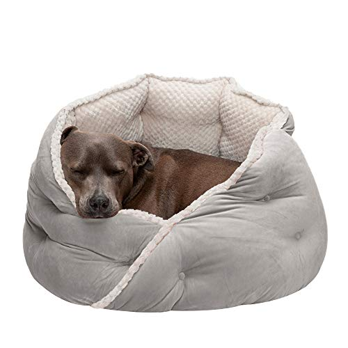 Furhaven Pet Dog Bed - Plush Minky Faux Fur and Velvet...