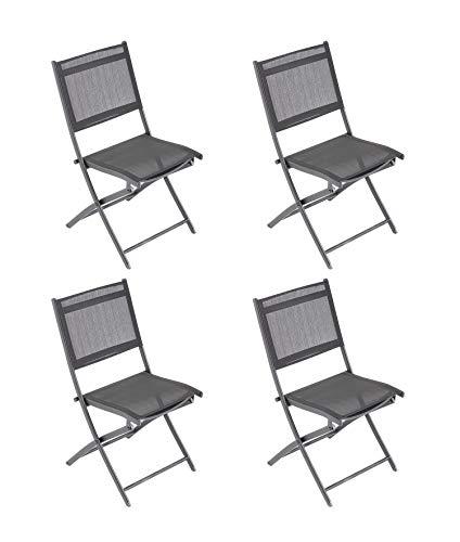 Laxllent Klappstuhl Balkon 4er Set,Alu klappstuhl,Atmungsaktiv Rückenlehne aus Textilene,Gartenstuhl 85x46x45cm,Schwarz,für Camping,Balkon,Garten