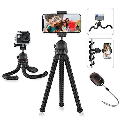 """Mpow Móvil Trípode, Tripode con Rótula de Bola, Mini Trípode con Bluetooth, Soporte con Tornillo 1/4""""Soporte Universal Cabeza de Bola 360° y Control Remoto Bluetooth para Canon Sony Nikon y Smartphone"""