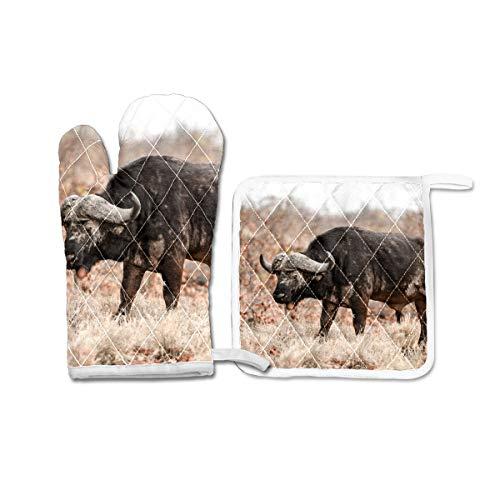 Ofenhandschuhe und Topflappen, Set mit 2 hitzebeständigen Ofenhandschuhen, Grillhandschuhen, Geschenk zum Backen, Grillen, afrikanischer Büffel