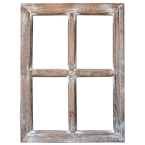 Barnyard Designs Rustic Barn Wood Window Frame, Decorative Country Farmhouse Home Wall Decor, Wooden Window Pane for Living Room, Bedroom, or Fireplace Mantel, 1 Frame, 61cm x 45.50cm