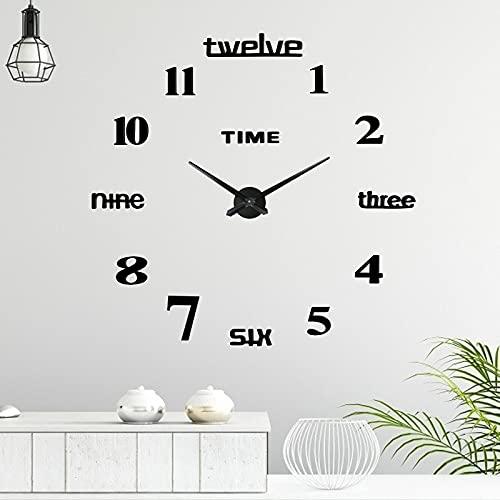 Reloj de Pared 3D sin Marco, Comius Sharp Moderno Reloj de Pared Silencioso, DIY Reloj de Pared Adhesivo Reloj de Pared Decoración Ideal para la Casa Oficina Hotel Restaurante (Black)