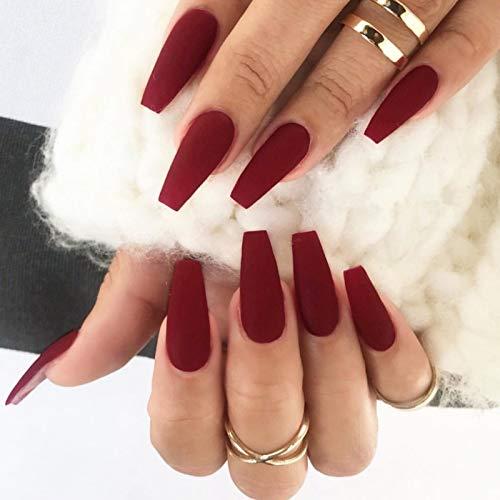 Brishow Cercueil faux ongles, mat ballerine faux ongles, couleur pure acrylique presse sur ongles 24 pièces pour femmes et filles (Rouge)