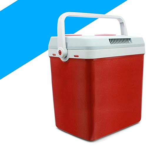 TYUIO Dual Voltage Car Refrigerator for Car and Home, Portable Car Cool and Warm Electric Cool Box, 25L DC Coolbox for Traveling and Camping (Color : Red)
