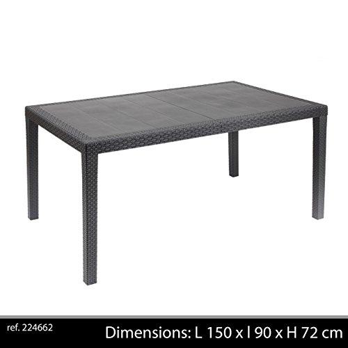 Ipae-Progarden - Tavolo Fisso Intrecciato Stile Rattan, Plastica, Colore Antracite Pri16 150X72X90 Cm