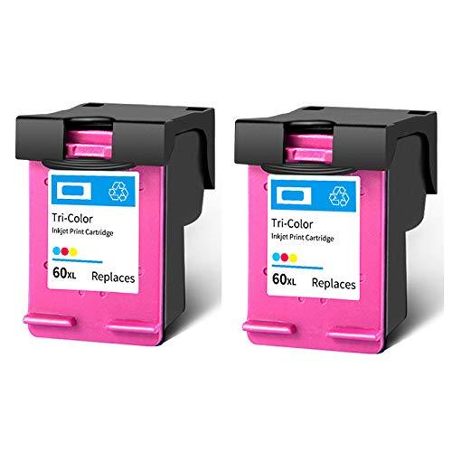Cartucho de tinta 60XL, repuesto de alto rendimiento para impresoras HP Deskjet F4280 F2410 F4480 PhotoSmart C4600 C4780 ENVY 100 110, color negro y tricolor, 2 tricolor