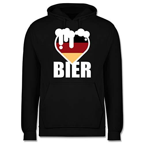 Shirtracer Oktoberfest & Wiesn Herren - Herz mit Bier - Deutschland - XS - Schwarz - Geschenk - JH001 - Herren Hoodie und Kapuzenpullover für Männer