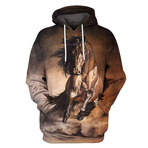 Boromiroak Womens Mens 3D Printed Horse Hoodies Sweatshirts Pullover Hooded Shirts