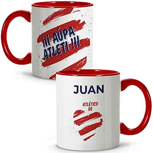 LolaPix Taza ATLÉTICO. Tazas Personalizadas con Nombre. Taza Desayuno fútbol. Regalos Personalizados. Varios diseños.