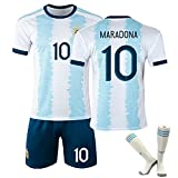 JTYDFG Camisas para Hombres, Argentina 1920 Copa Mundial Maradona Classic Retro Fútbol Camisas, Camisetas para Adultos y niños con Calcetines,Blue White,XXL