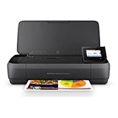 "Main functions of this HP all-in-one portable printer: scan, copy, easy portable printing wherever you need it, wireless Print from your laptop or mobile devices, 2. 65"" Color touchscreen, auto document feeder, and more Mobile printing: print from an..."