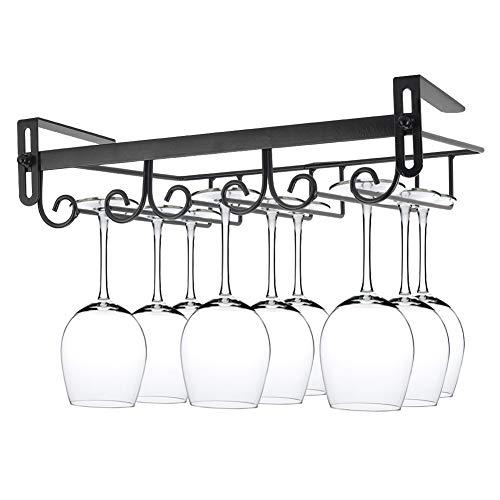 Estante para copas de vino sin clavos, para colgar debajo del gabinete, soporte de metal para copa de vino debajo del estante para bar cocina (negro, 3 filas)