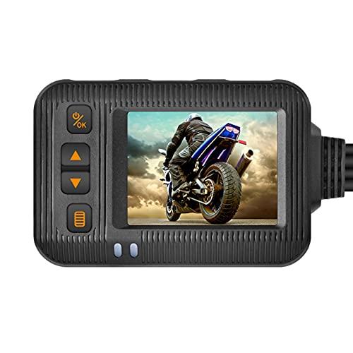 Maril Cámara de salpicadero para Motocicleta 1080P Cámaras Delanteras y traseras para Motocicleta Grabadora LCD antivibración Controlador de Cable Largo de 2,5 Metros Ingenious