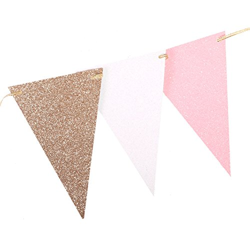 Ling's moment 10 Feet Vintage Double Sided Glitter Triangle Flag Bunting Pennant Banner for Wedding Christmas New Year Eve Party Decor, Upgrade Glitter Version, Gold+White+Pink 15 Flags, Pack of 1
