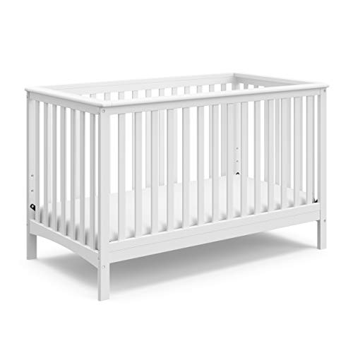 Storkcraft Hillcrest Fixed Side Convertible Crib, White, Easily Converts to Toddler Bed Day Bed or Full Bed, Three Position Adjustable Height Mattress, Some Assembly Required (Mattress Not Included)