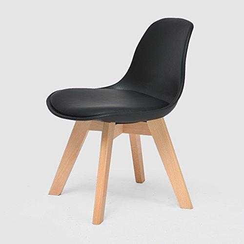 LJHA Tabouret pliable Creative chaise en bois massif enfants / dossier chaise d'étude de ménage / bébé à manger chaises / sécurité accoudoir petit banc 5 couleurs disponibles 33 * 55 cm chaise patchwork ( Couleur : Noir )