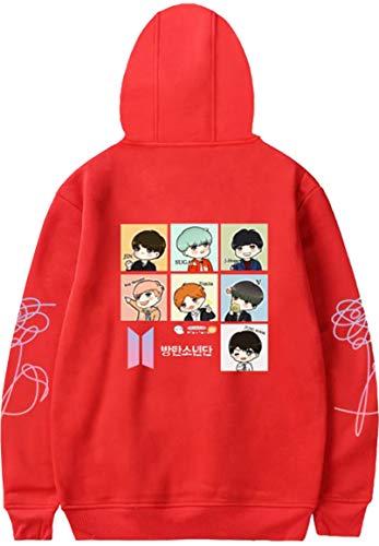 OLIPHEE OLIPHEE Mädchen Kapuzenpullover Cartoon BTS Warme Jumper für Jungen KPOP Sweatshirt Rot M