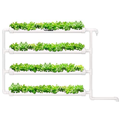 VIVOSUN Wall-Mounted Hydroponic Grow Kit, 1 Layers 36 Plant Sites 4 PVC Pipes Hydroponics Growing System With Water Pump, Pump Timer, Nest Basket And Sponge For Leafy Vegetables