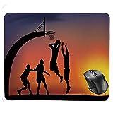 Mouse Pad,Boys Playing Basketball at Sunset Horizon Sky Dramatic Scene Decorative Mouse Pad