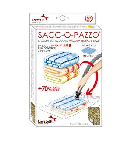 LAVATELLI SACCO SALVASPAZIO L, Set di 2 sacchetti sotto vuoto, salvaspazio, anti-muffa, anti-acari, misura Big 70x120cm, multiuso per abiti by Lavatelli